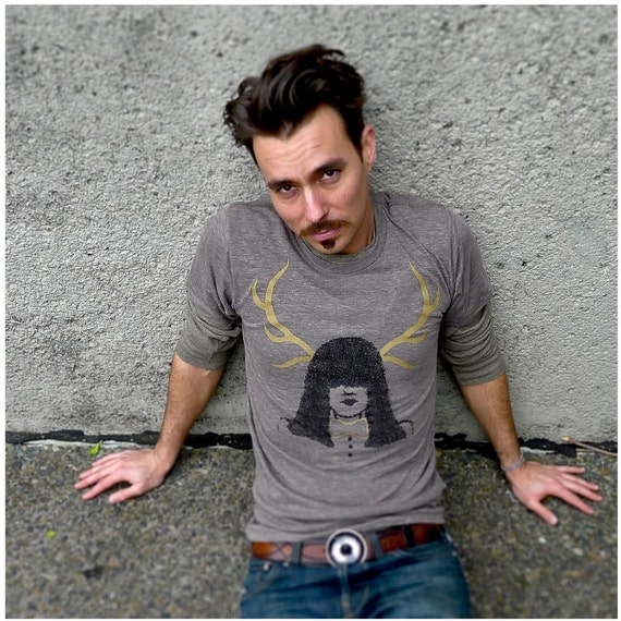 SALE - Mens tshirt - brown - xl - deer girl graphic print with gold antlers on American Apparel t shirt - GOING STAG