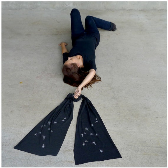Aquarius Rising - winter fashion - womens scarf - zodiac constellation screenprint on heather black jersey scarf - gift for her