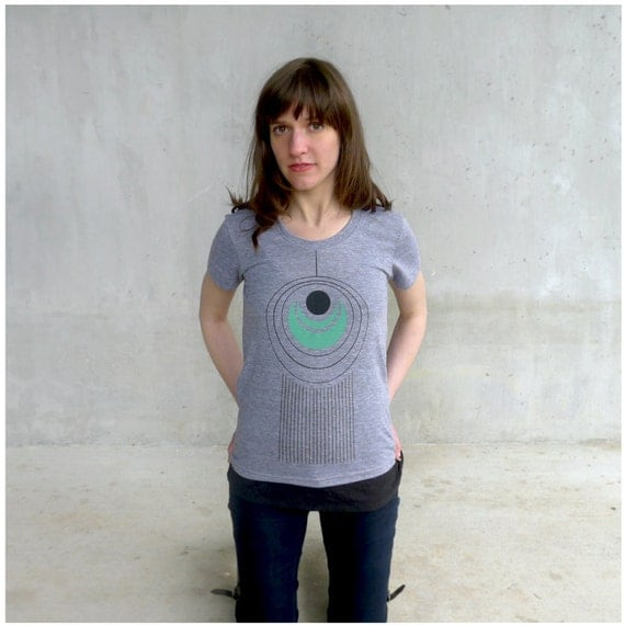 Tail Feather - womens tshirt - limited edition - gray and mint green - S/L/XL - geometric peacock feather on American Apparel track tees