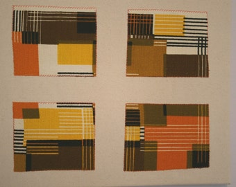 Wall Hanging Art Vintage Fabric Orange Brown Yellow Cream Black Geometric Barkcloth
