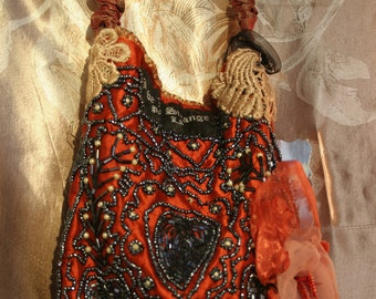 OOAK hand beaded tangerine and peach flapper purse
