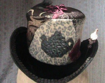 crocodile leather teapot and leopard patchwork miniature tophat