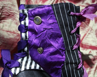 grape crinkled satin cocktail spats