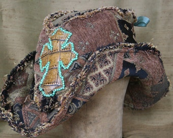 tattered croc cross tapestry hat