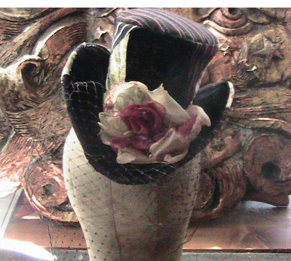 buttered cherry blossom patchwork miniature veiled tophat