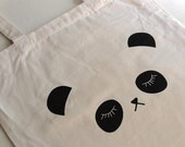 Panda Tote Bag - Sleepy Panda Print on a Canvas Tote Bag