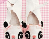 Sweet Panda Bear Mary Jane Shoes - size 8 - Choose Your Bow Color