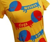 Wiener Dog T-Shirt - Yellow DACHSHUND Shirt - Available in S, M, L, XL