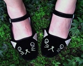 Cat Shoes - Embroidered Kitty Flats Mary Janes- Ladies Size 4