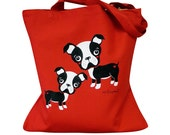 Boston Terrier Tote Bag - Red Dog Totebag