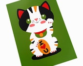Maneki Neko Japanese Lucky Cat Art Print 5 x 7