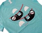 Ladies Sloth Shirt - Cute Sloths Aqua Blue Shirt - (Available in Ladies sizes S, M, L, XL)