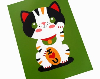 Maneki Neko Japanese Lucky Cat Art Print 5 x 7