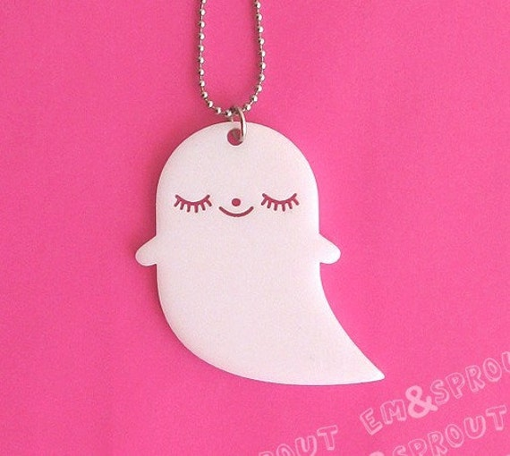 Ghost Necklace - Sleepy Phantom Acrylic Charm with Chain