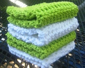 Hand Made Crochet Cotton Wash Cloths / Dish Cloths in Green and White - Set of 4 - Eco Friendly and Green