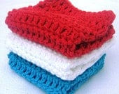 Crochet WashCloths Dishcloths - Cotton - Red White and Blue by HandmadeByAnnabelle - Set of 3 - Reusable and Eco