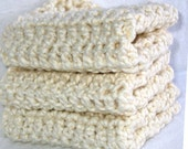 Not Your Grandma's Crochet Washcloths - Luxurious Cream Organic Cotton Crochet Wash Cloth / Spa Cloth / Face Wash - Set of 3 - Eco Friendly and Green - This Item Was Featured on ETSY's Front Page