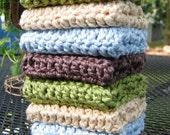 Organic Washcloths Dishcloth Handmade 100% Cotton Wash Cloths - Set of 8 - Ecofriendly and Green, Cream Brown Blue Green