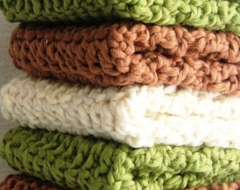 Organic Cotton Wash Cloths or Dish Cloth or Bath and Body-Total of 3 -Eco Friendly