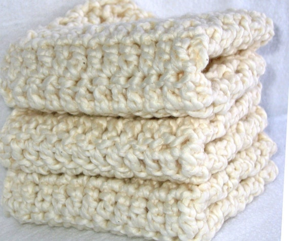 Luxurious Cream Organic Cotton Crochet Wash Cloth \/ Spa Cloth \/ Face Wash - Set of 3 - Eco Friendly and Green - This Item Was Featured on ETSY's Front Page