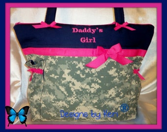 Military camo purse to duffle diaper bag Army Navy Air Force Marines proud American 4 sizes baby shower gift diaper bag Dad's diaper bag