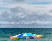 ocean sea umbrella summer clouds waves art print cottage beach decor 8x10 Breezy