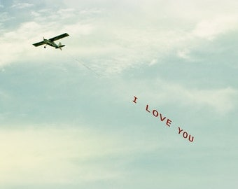 I Love You Photograph, Father's Day, Plane, Airplane Message, Stewardess, Pilot, Romantic Photo, Lover, Beach House Decor - I Love You