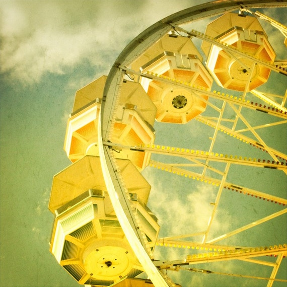 Carnival Print, Ferris Wheel Photograph, Carnival Photo, Fair, Midway Ride, Childs Room Art,  Nursery Art, Yellow, Green  - In the Clouds