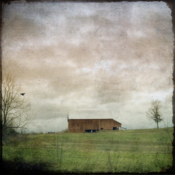 Barn Photography Print, Country Landscape, Rustic Barn Photo, Farmhouse Art, Country Decor, Weathered, Moody, Cloudy - Rural