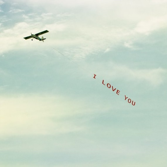 I Love You plane message across the sky airplane banner 5x5 art print - I Love You