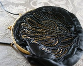 Deco Black Satin Beaded Purse