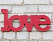 love handmade wood sign - wedding engagement - wall decoration for vintage or modern decor