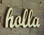 HOLLA gold limited edition recycled-wood sign