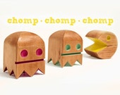 Pac Man Bots set of three made from reclaimed northern Douglas-fir