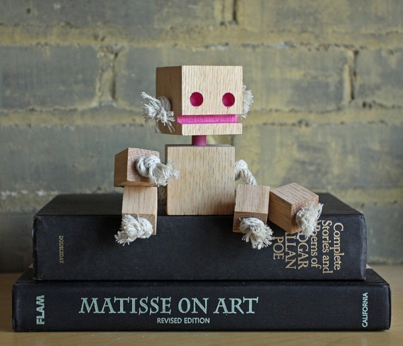 Annie Oakley a Small Block Bot made from reclaimed wood