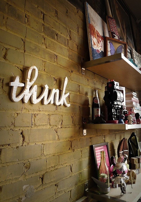 THINK recycled-wood sign