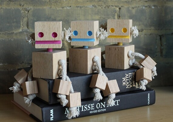 Oakley a Small Block Bot made from reclaimed wood