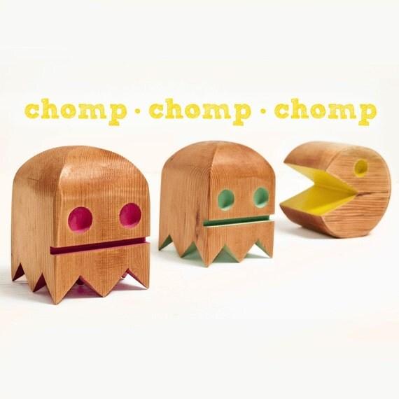 Pac Man Bots set of three made from reclaimed northern Douglas-fir