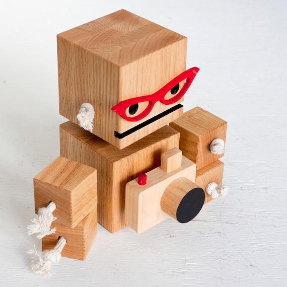 Camera Bot a robot made from reclaimed oak