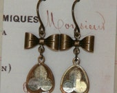 Vintage Glass Trefoil Cabochon and Brass Bow Earrings
