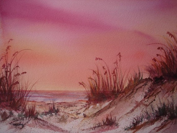 Original Watercolor Painting Art Seascape Sand Dunes Sea Oats