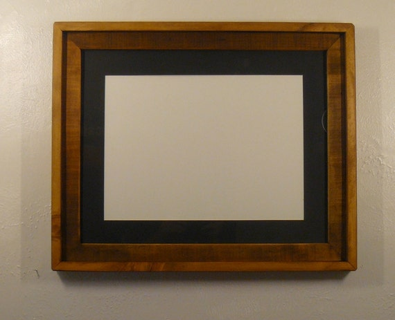 Reclaimed wood 16x20 picture frame with 12x16 black mat