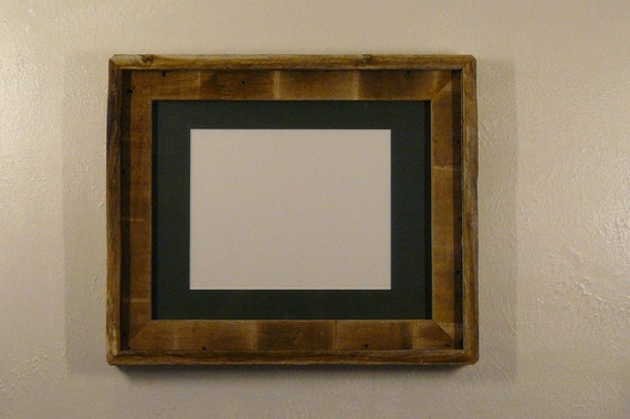 Eco chic 11x14 barnwood picture frame green mat for 8x10 picture