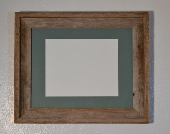 Upcycled gray barnwood picture frame 11x14 with green 8x10 mat, glass and backing