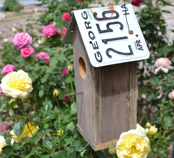 Rustic birdhouse reclaimed barnwood with Georgia license plate roof