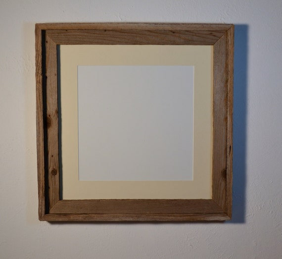 Photo frame reclaimed wood  16x16 with 12x12 off white mat light gray patina with knots
