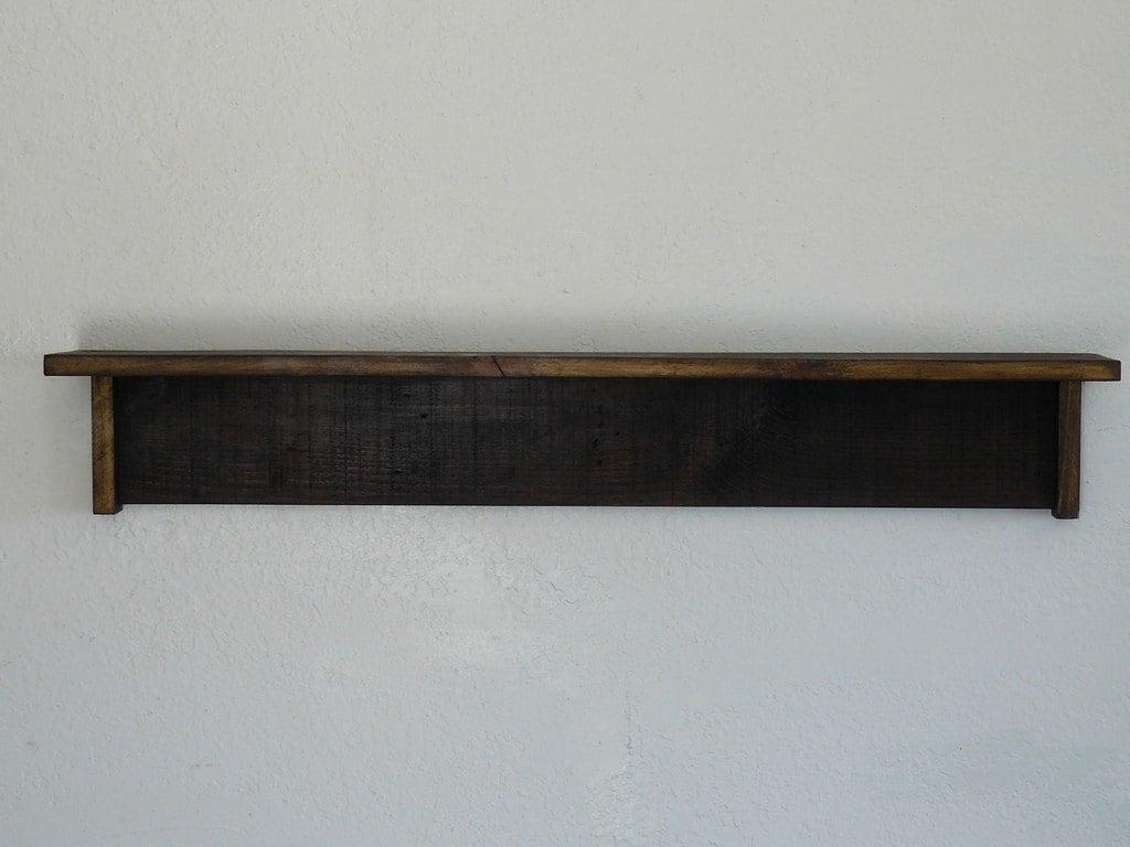 reclaimed wood shelf 35 inch dark brown finish. Black Bedroom Furniture Sets. Home Design Ideas