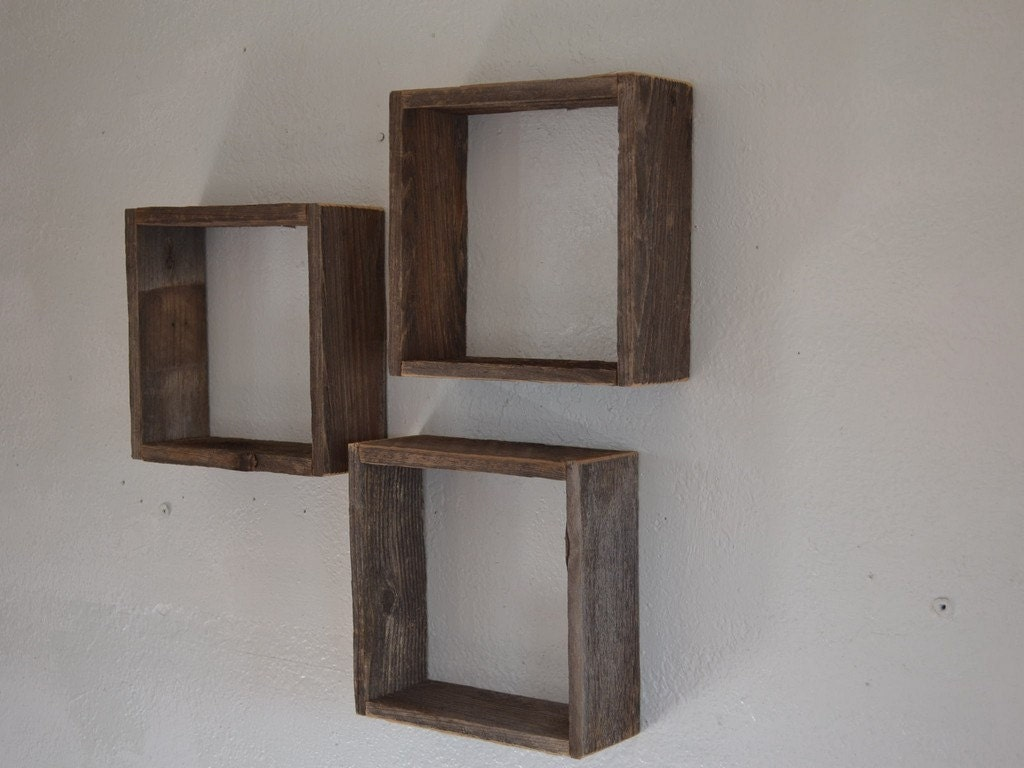 Upcycled barnwood shadow boxes rustic wall decor 10x10 for Wall accessories