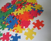 150 Primary Color Puzzle Piece Paper Punches from cardstock -for scrapbooking projects-