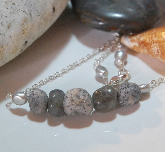 Beach Combers Necklace - labradorite and handmade beads